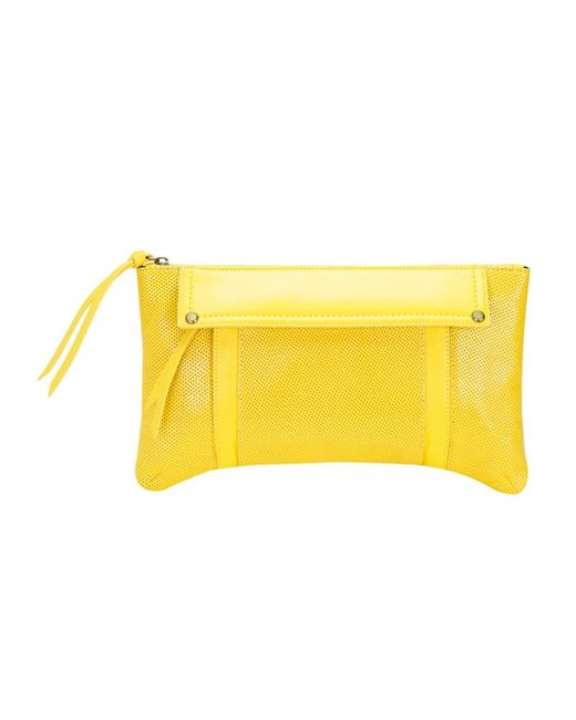 Mofe | Yellow Kismet Perforated Leather Clutch With 3 Easy Access Exterior Pockets And Rivet Studs | Lyst