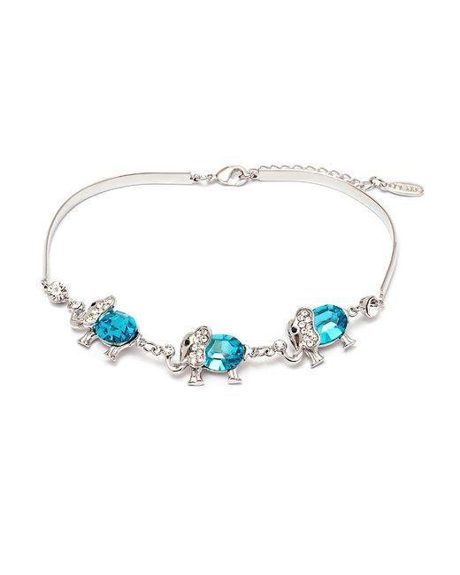 Peermont   Blue Silver And Aquamarine Crystal Elements Triple Elephant Bracelet   Lyst