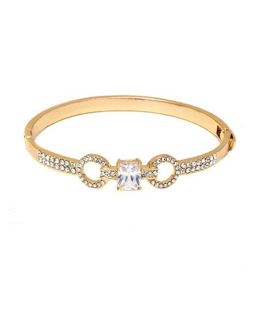 Peermont | Metallic Gold And Swarovski Elements Double Ring Bangle | Lyst