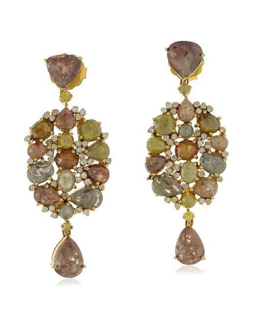 Socheec   Metallic Mixed Stone And Diamond Drop Earrings   Lyst