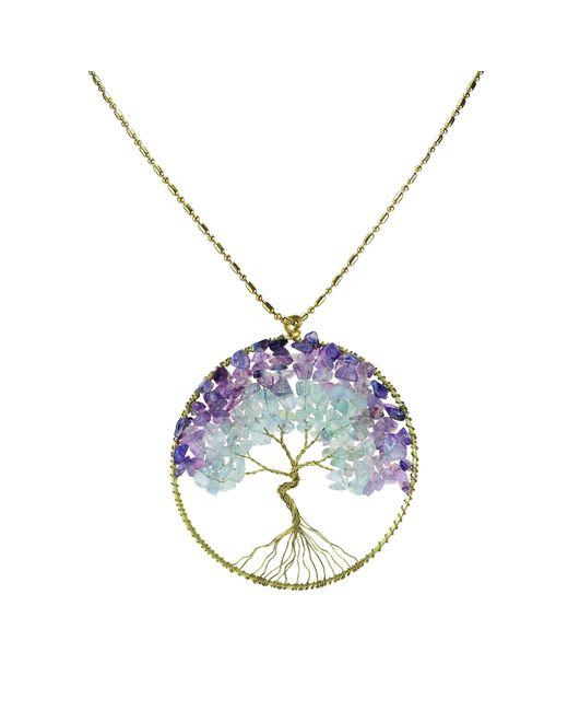 Aeravida | Purple Eternal Tree Of Life Brass Long Necklace | Lyst