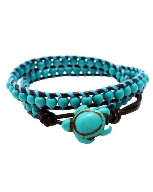 Aeravida | Blue Ocean Sea Turtle Reconstructed Turquoise Double Wrap Leather Bracelet | Lyst