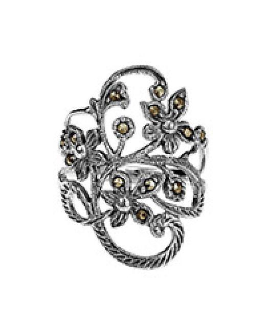 Aeravida | Metallic Beautiful Marcasite Flower Vine Sterling Silver Ring | Lyst