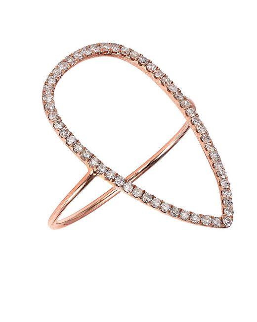 CR By Casa Reale | Metallic 18 K Gold White Diamond Open Tear Drop Ring | Lyst