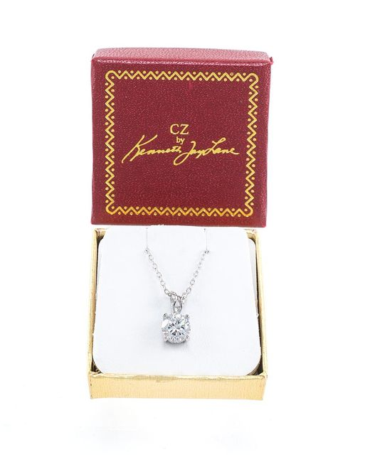 CZ by Kenneth Jay Lane | Metallic 2cttw Round Cz Classic Necklace Pendant | Lyst