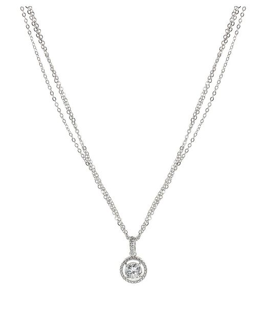 CZ by Kenneth Jay Lane | Metallic 3cttw Round Cz Pave Necklace Pendant | Lyst