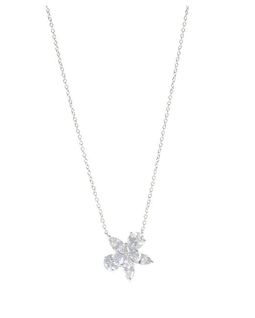 CZ by Kenneth Jay Lane | Metallic 3cttw Cz Necklace With Pear And Marquise Floral Pendant | Lyst