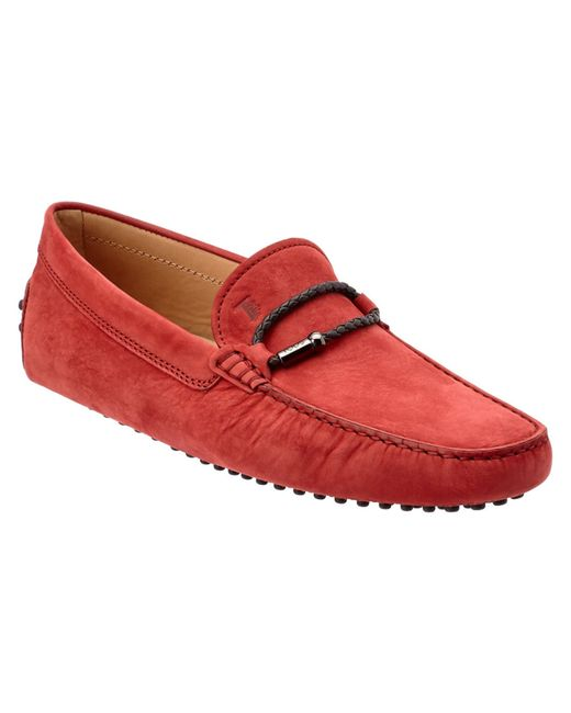 Tod's | Red Gommino Nubuck Moccasin for Men | Lyst