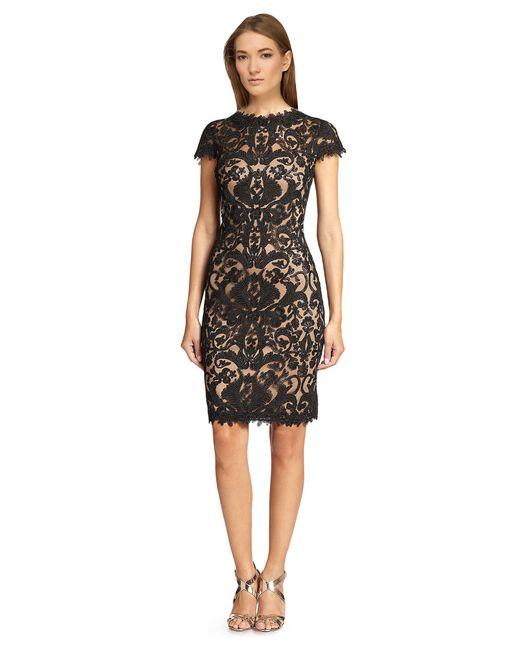 Tadashi Shoji | Brown Short- Seeve Lace Overlay Cocktail Dress | Lyst
