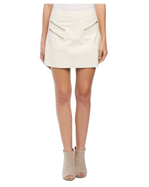 pam gela perforated leather mix skirt in white lyst