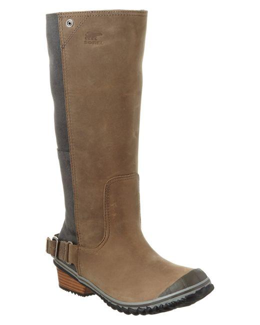 sorel s slimboot waterproof leather suede boot in