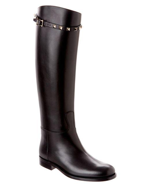 Valentino   Black Rockstud Leather Boot   Lyst