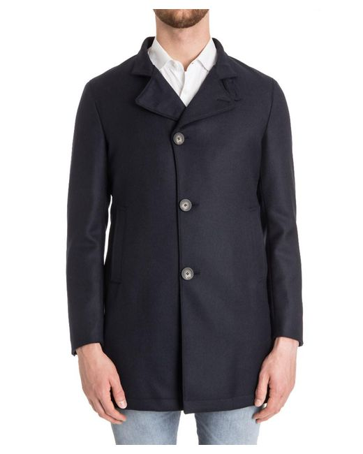 Tagliatore - Men's Blue Wool Coat for Men - Lyst