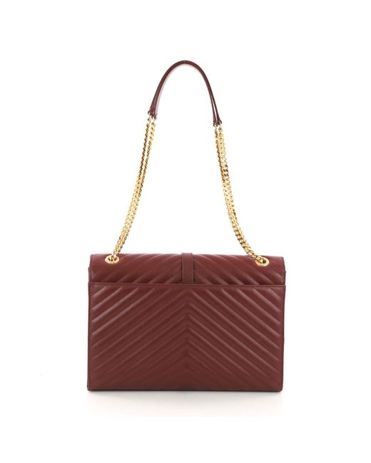 ... Saint Laurent - Red Pre Owned Classic Monogram Satchel Matelasse  Chevron Leather Large - Lyst ... 62d3b4dfeff66