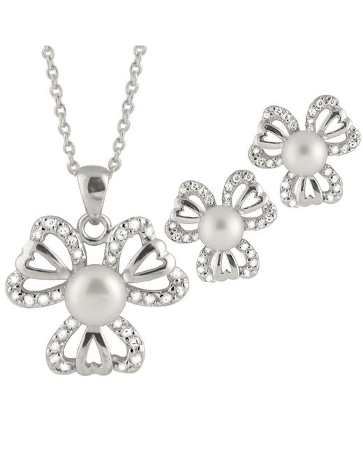 Splendid | White Heart Shaped Cz Pearl Pendant And Earring Set | Lyst