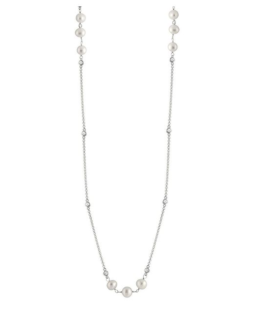 """Splendid - Metallic Bezel Cz 36\"""" Pearl Tin Cup Necklace - Lyst"""