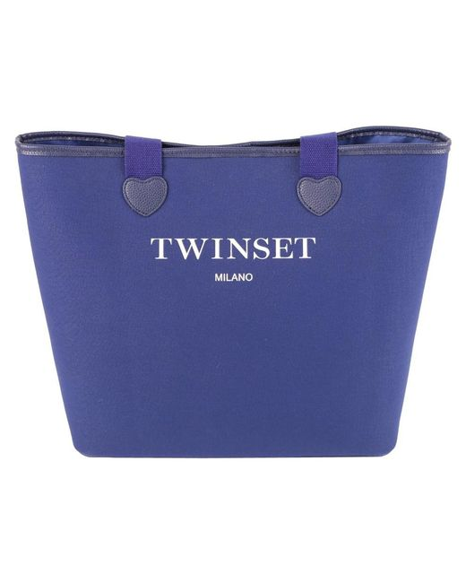 Twin Set - Women's Blue Cotton Tote - Lyst
