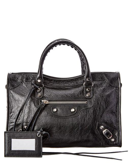 Balenciaga | Black New City Small Arena Leather Satchel | Lyst