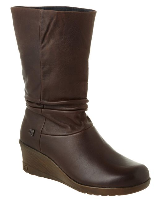 keen boulevard kate slouch leather boot in brown lyst