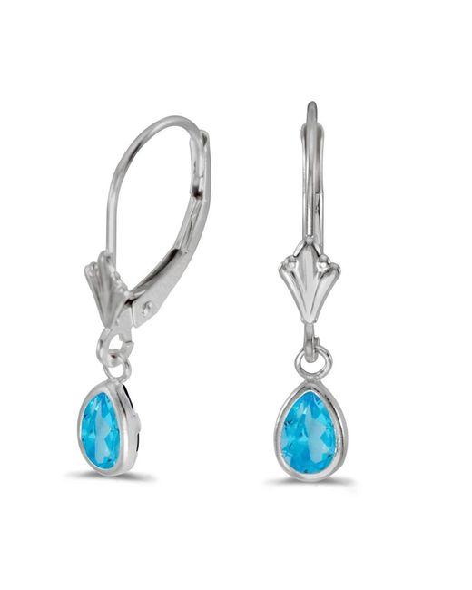 Amanda Rose Collection   14k White Gold Pear Blue Topaz Bezel Lever-back Earrings   Lyst