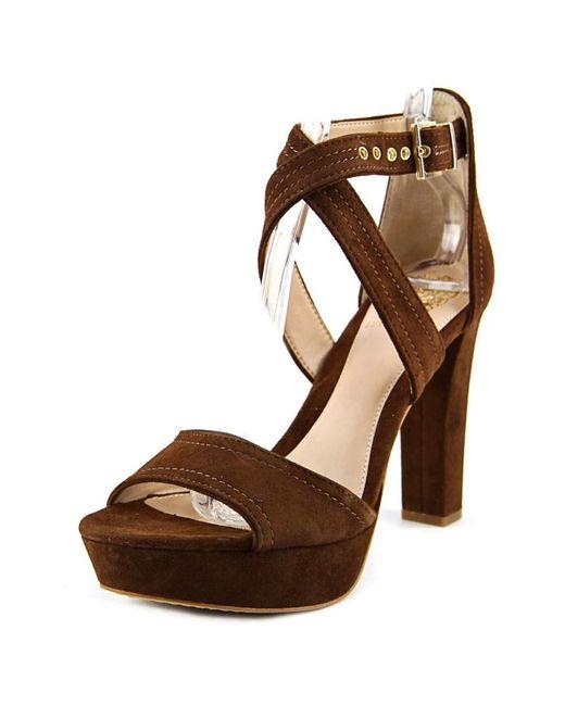 Vince Camuto | Shayla Women Open Toe Suede Brown Platform Heel | Lyst