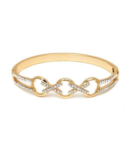 Peermont - Metallic Gold And Swarovski Elements Crisscross Triple Ring Bangle - Lyst