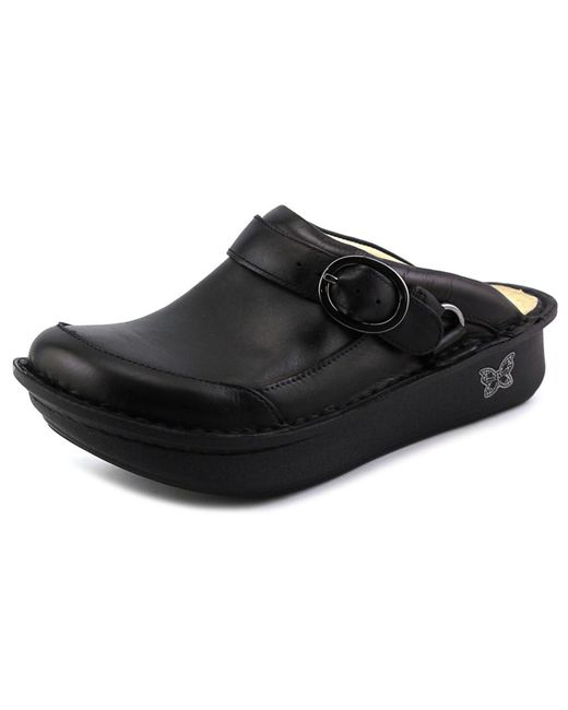 Alegria | Black Seville Round Toe Leather Clogs | Lyst