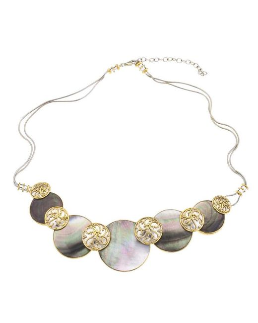 Jewelista   Silver & Black Mother Of Pearl Necklace   Lyst