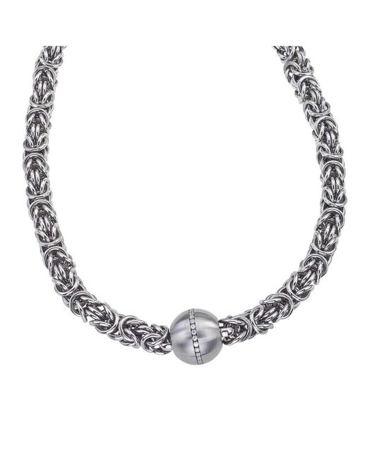 Jewelista | White Stainless Steel & Cubic Zirconia Byzantine Pendant Necklace | Lyst