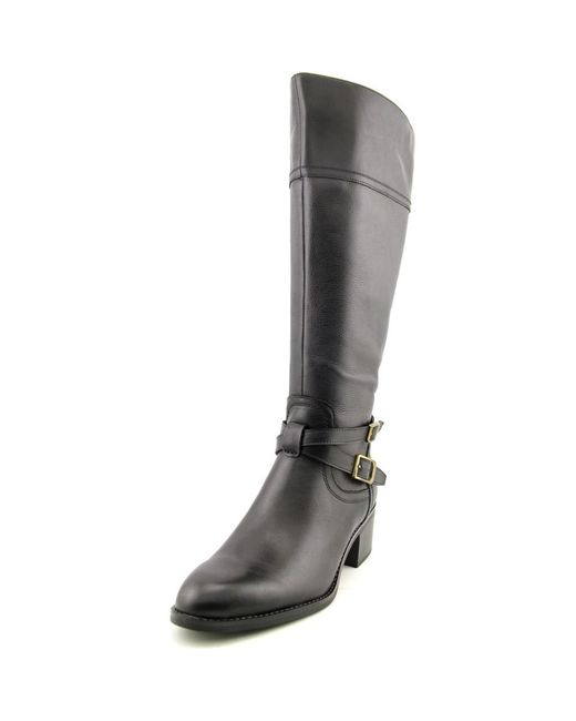 Franco Sarto | Black Lapis Wide Calf W Round Toe Leather Knee High Boot | Lyst