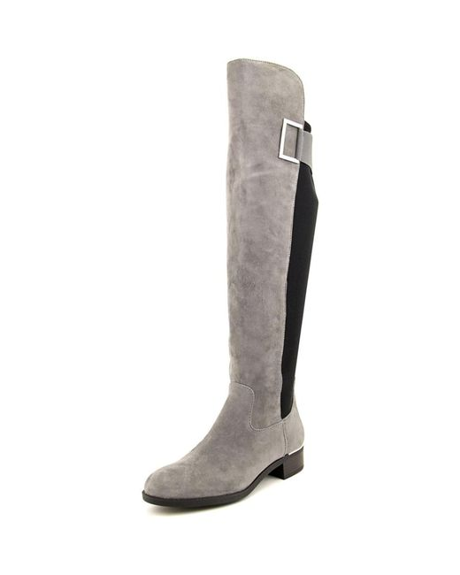 calvin klein cylan toe suede knee high boot in gray
