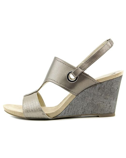 Anne Klein Grey Leather Open Toe Shoes