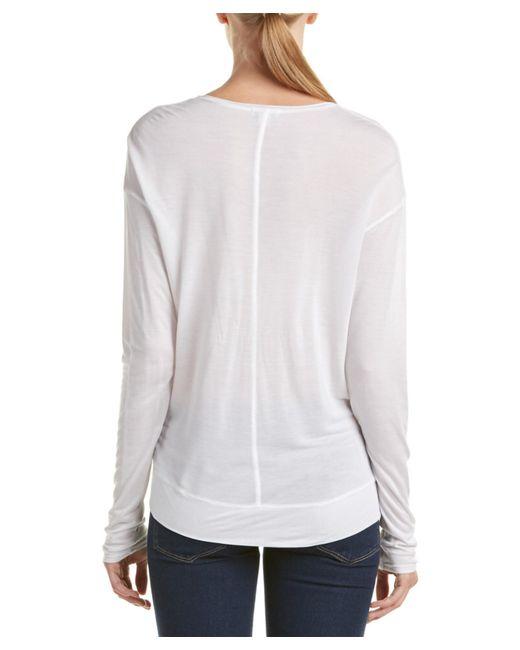 Splendid dropped shoulder silk blend t shirt in white lyst for Silk white t shirt
