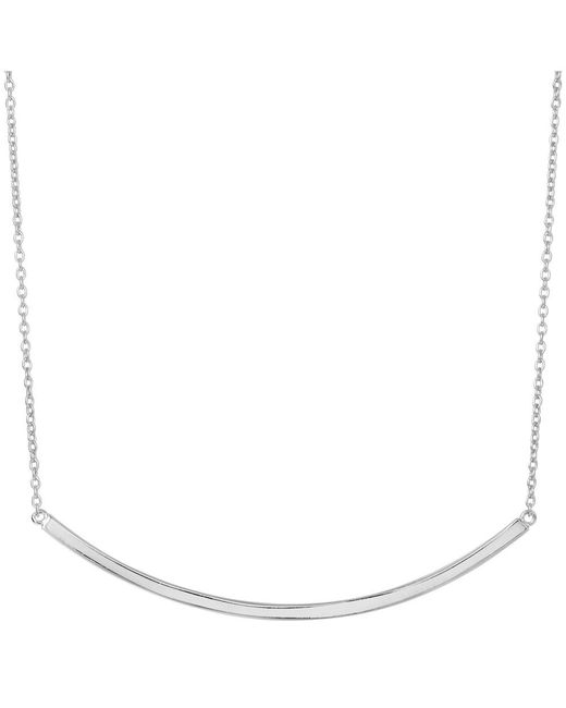 JewelryAffairs - White Sterling Silver Sideways Curve Bar Pendant Necklace, 18 - Lyst