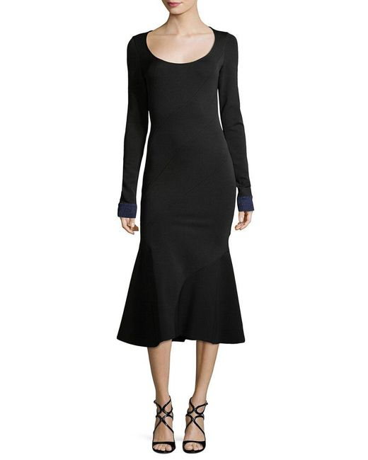 Victoria Beckham - Black Flare Midi Dress - Lyst