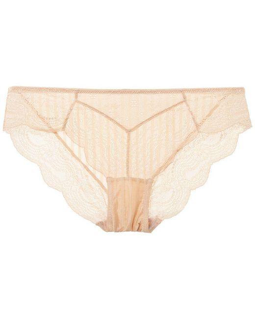 Blush Lingerie - Natural Lingerie Scalloped Trim Lace Bikini - Lyst