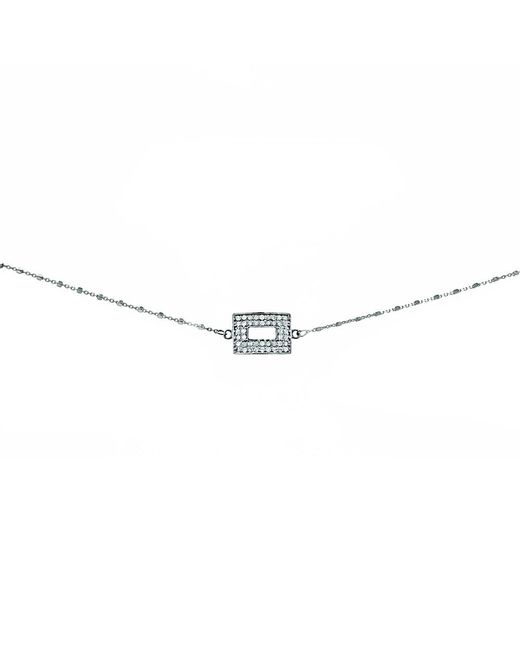 Adornia | Metallic Champagne Diamond And Sterling Silver Cutout Rectangle Choker Necklace | Lyst