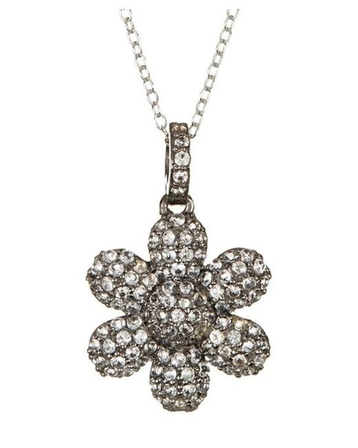 Adornia | White Topaz And Sterling Silver Flower Power Pendant Necklace | Lyst