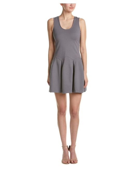 Parker | Gray Pleated A-line Dress | Lyst