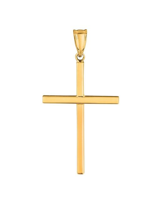 JewelryAffairs | 14k Yellow Gold Shiny Square Tube Style Cross Pendant | Lyst