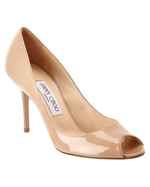 Jimmy Choo | Natural Evelyn 85 Patent Leather Peep Toe Pump | Lyst