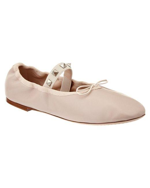Valentino | Blue Rockstud Leather Ballet Ballerina Flat | Lyst