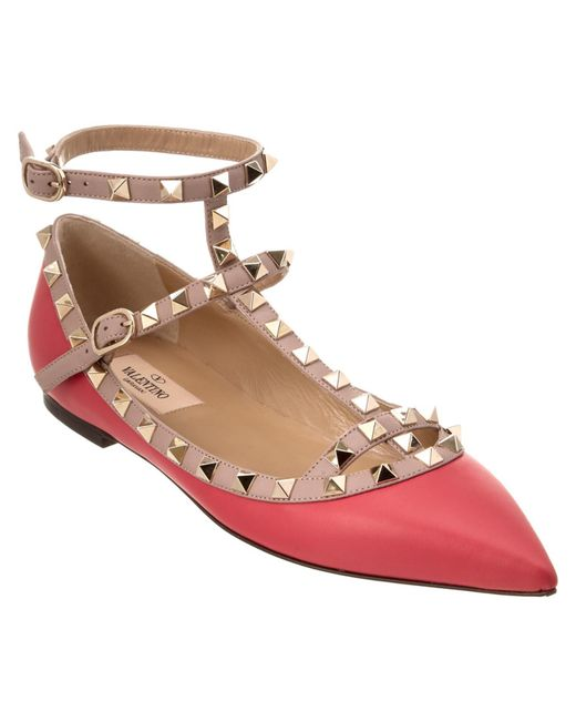 Valentino   Red Rockstud Leather Cage Flats   Lyst