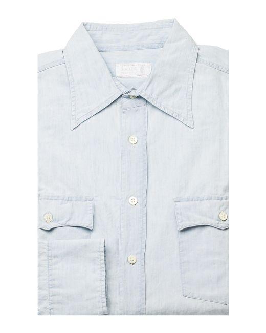 Prada Men 39 S Pointed Collar Cotton Dress Shirt Aqua In Blue