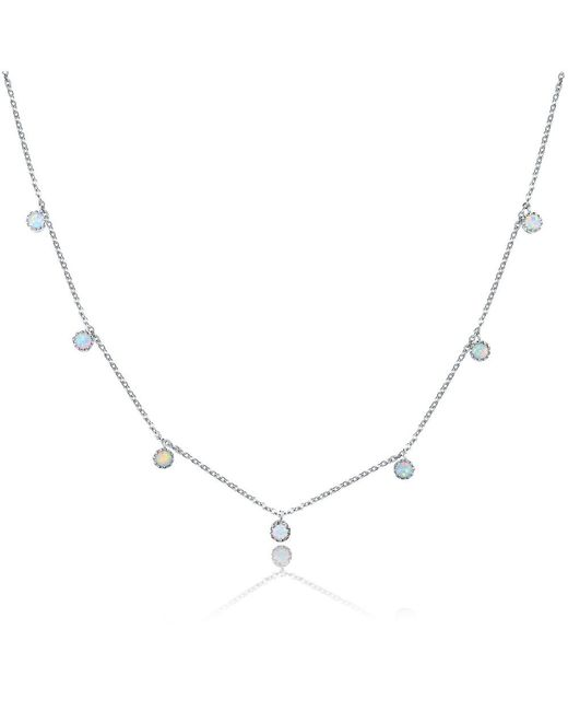 Peermont | Metallic 18k White Gold Plated & White Fire Opal Graduated Crown Charm Necklace | Lyst