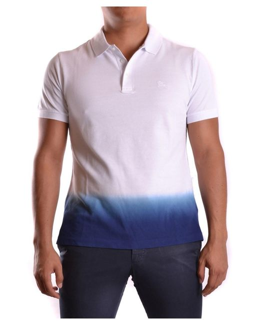 Burberry - Men's Mcbi056138o White/blue Cotton Polo Shirt for Men - Lyst