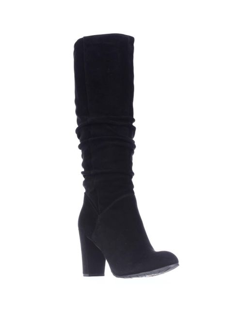 Nine West - Shiryl Tall Slouch Pull On Boots, Black Suede - Lyst