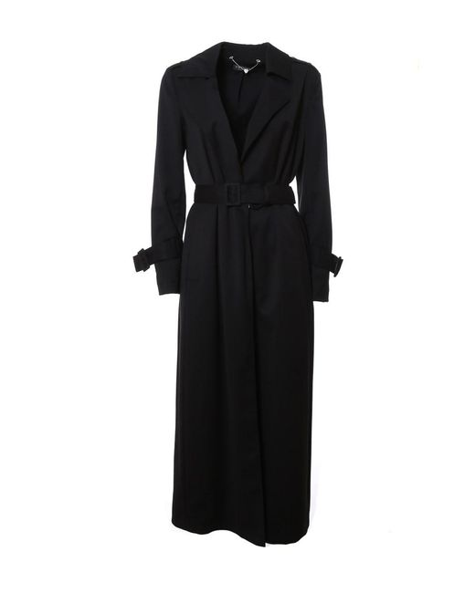 Twin Set | Women's Black Polyester Trench Coat | Lyst