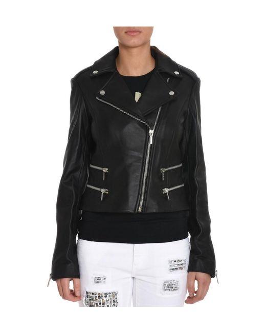 Michael Kors | Women's Black Leather Outerwear Jacket | Lyst