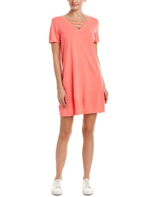 Michael Stars - Pink Faux Lace-up T-shirt Dress - Lyst